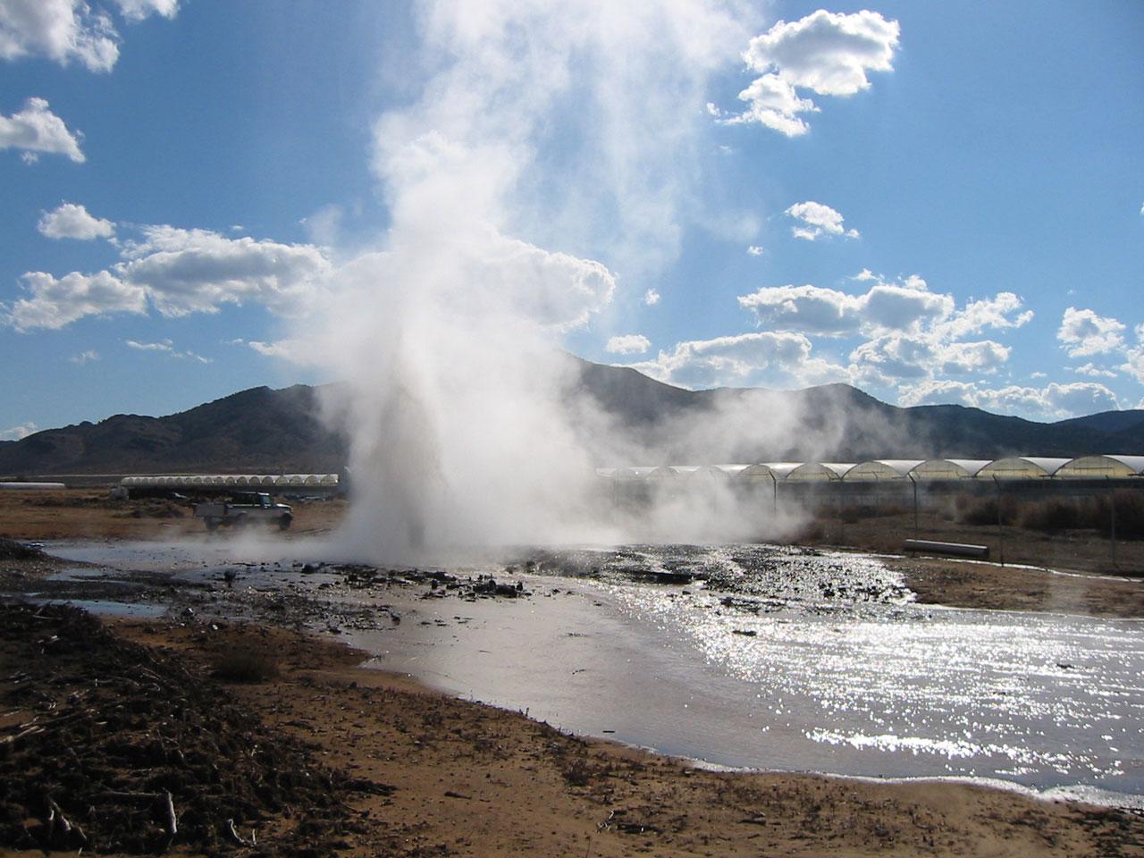Utah geothermal well flow test at Milgro Nursery's greenhouses, Newcastle, Utah. Photo by Robert Blackett, Utah Geological Survey.