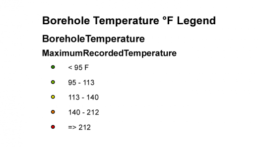 Borehole Temperatures Legend