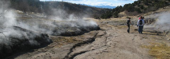 Steaming ground near Roosevelt Hot Springs, Utah. Photo by Robert Blackett, Utah Geological Survey.